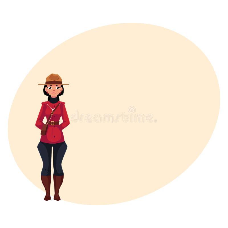 Kanadyjski żeński policjant w tradycyjnym mundurze, szkarłatnej tunice i breeches, ilustracji