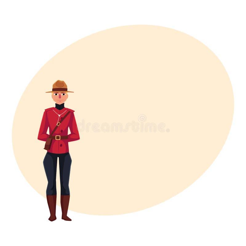 Kanadyjski policjant w tradycyjnym mundurze, szkarłatnej tunice i breeches, ilustracji