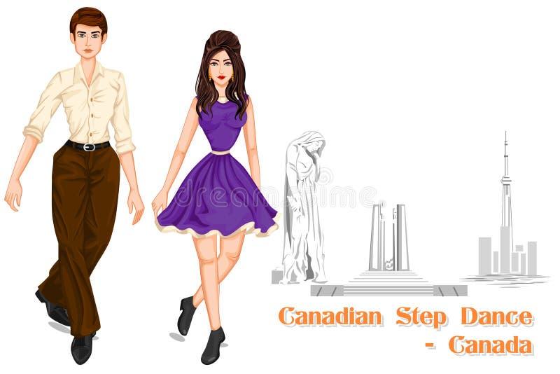 Kanadyjskiego pary spełniania kroka Kanadyjski taniec Kanada ilustracja wektor