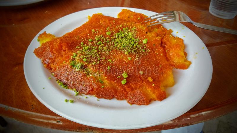 Kanafeh Middle Eastern sweet pastry dish royalty free stock images