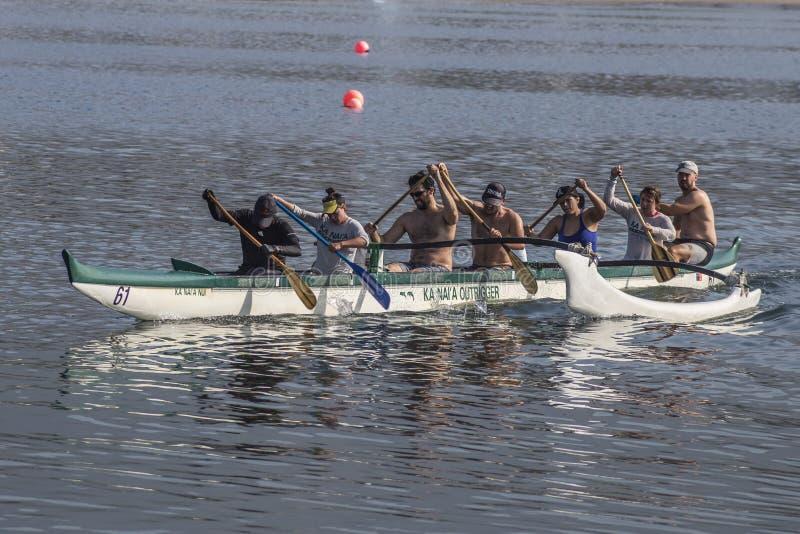 Kanai Outrigger Team paddling at the Santa Barbara coast, California royalty free stock photography