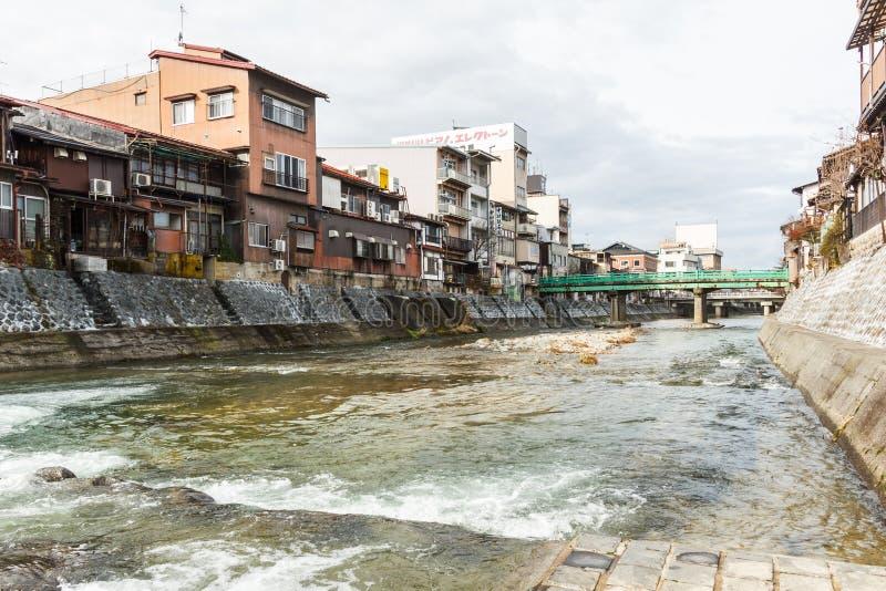 Kanal in alter Stadt Takayama lizenzfreies stockfoto