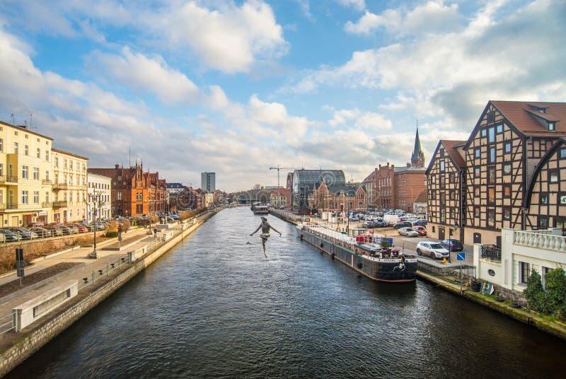 Kanal in Bydgoszcz, Polen stockbilder