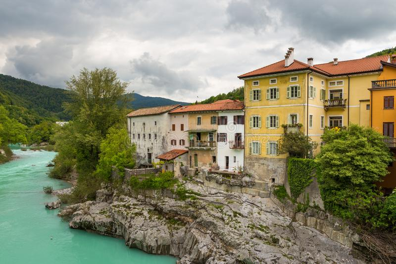 Kanal, charming town on the Soca River stock photography