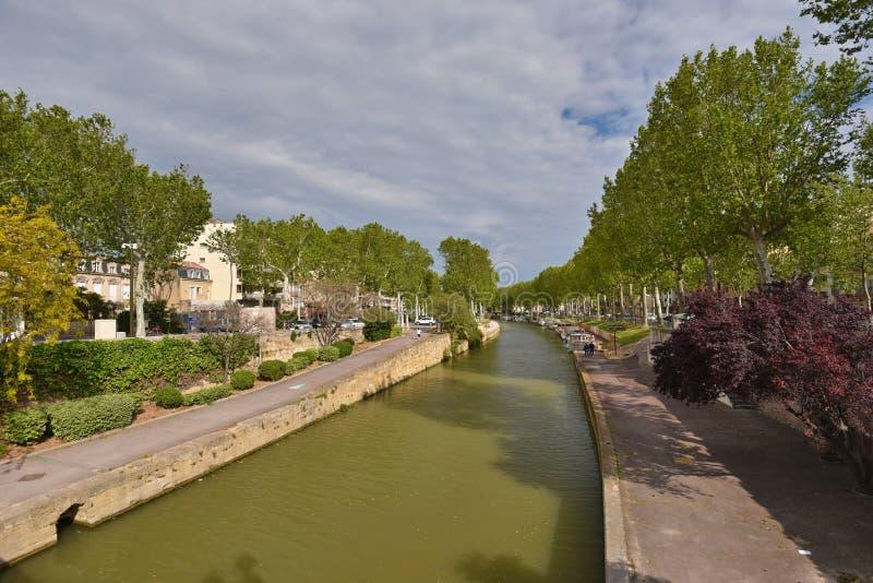 Kanal de la Rödhake i Narbonne royaltyfri bild