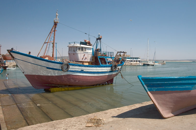 Kanal in Essaouira stockfotografie