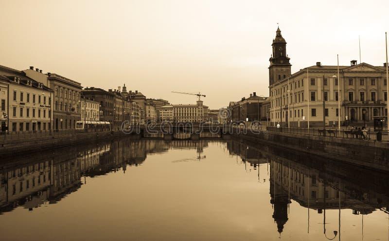 Kanal in Goteborg, Sepia, Schweden stockfoto
