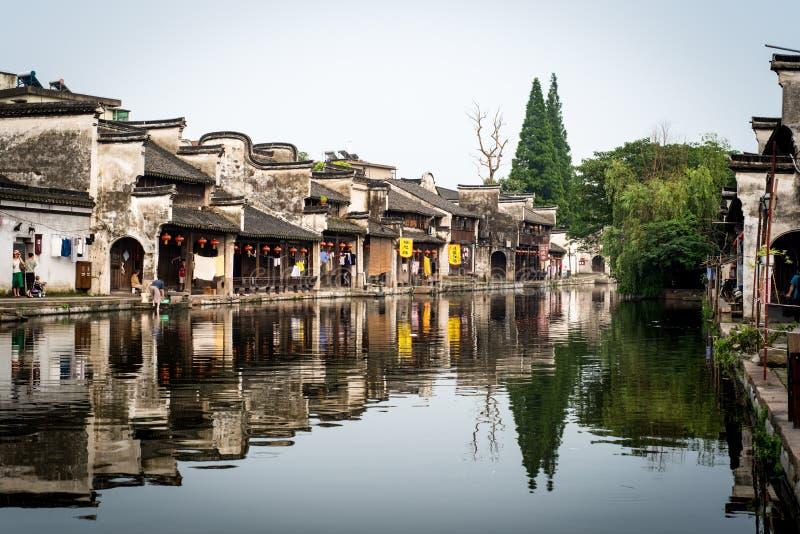 Kanal i en kinesiska watertown fotografering för bildbyråer