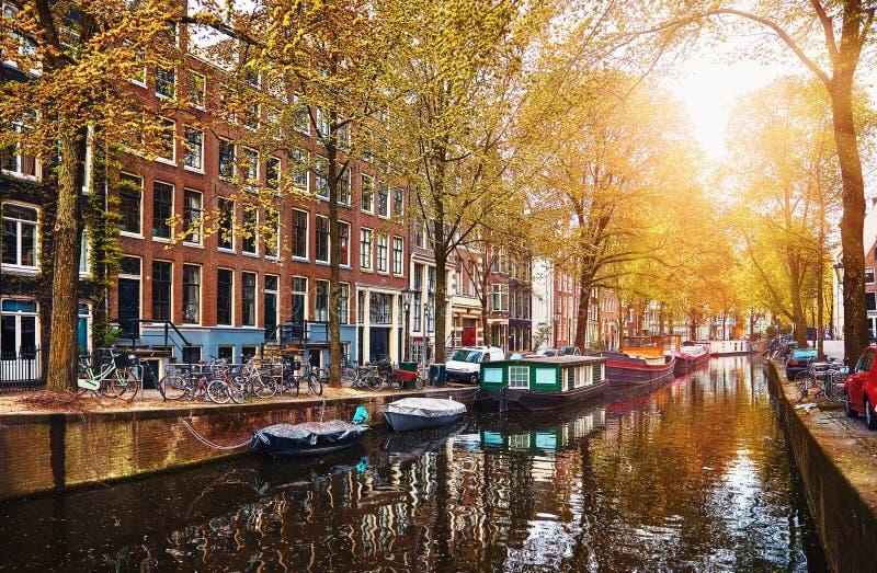 Kanal i floden Amstel för Amsterdam Nederländernahus royaltyfri bild