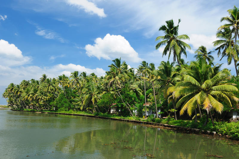 kanal india kerala royaltyfria bilder