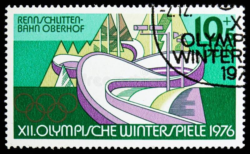 Kanal, Oberhof, Winter Olympics 1976, Innsbruck-serie, circa 1975 lizenzfreie stockfotos