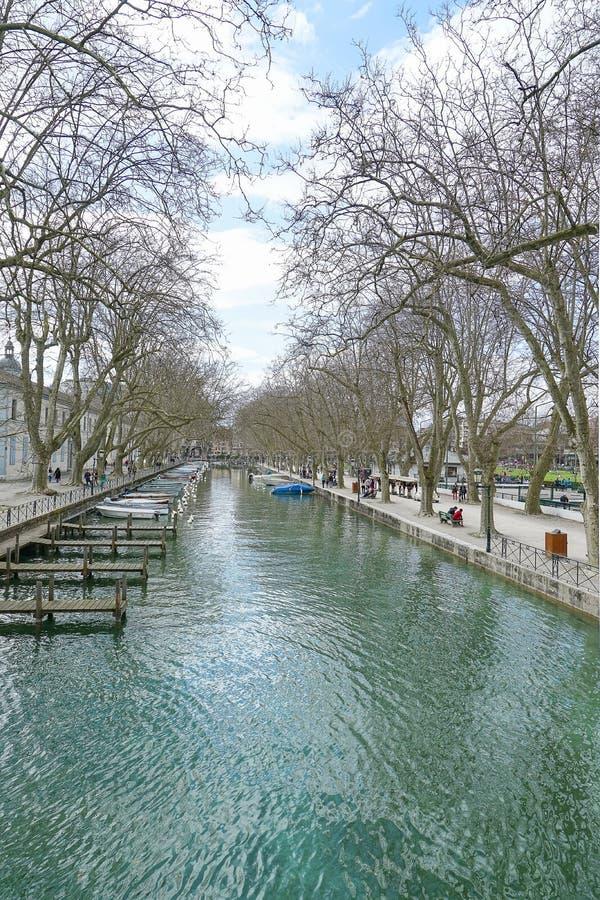Kanal på Annecy, Frankrike HDR fotografering för bildbyråer