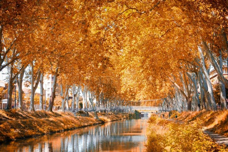 Kanalen du Midi, Frankrike arkivfoton