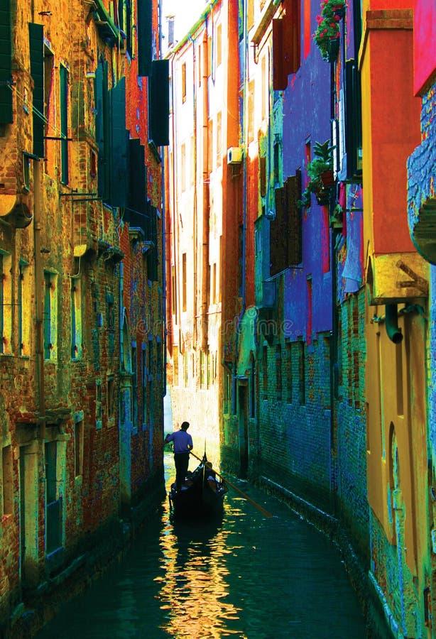 kanalen van de gondel van Venetië royalty-vrije stock foto