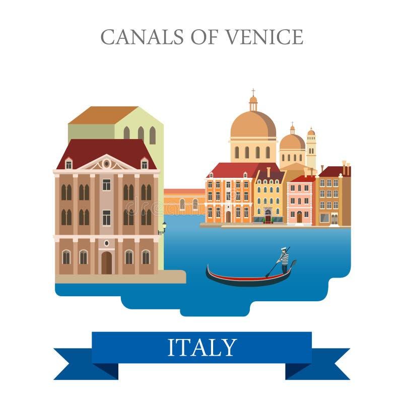Kanaler av den Venedig gondolen Italien sänker vektordragningsgränsmärket royaltyfri illustrationer