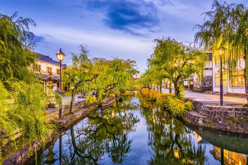 Kanaler av Kurashiki Japan arkivfoto