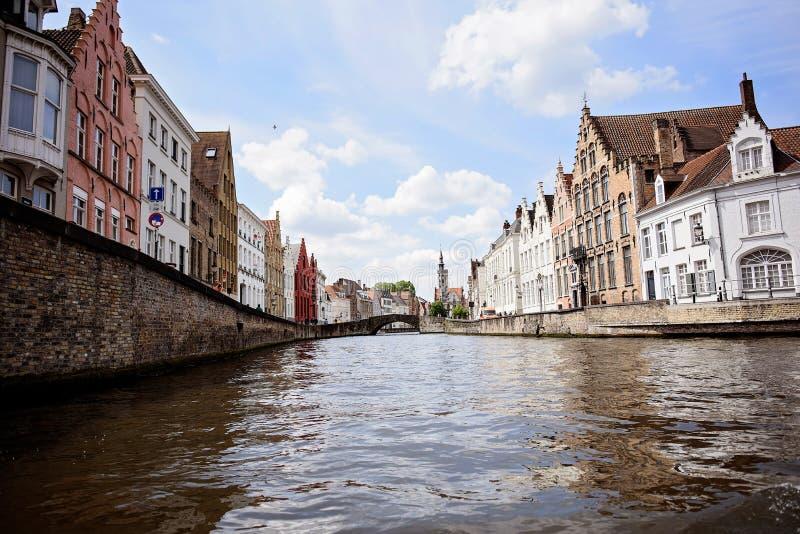 Kanaler Bruges Belgien royaltyfri bild