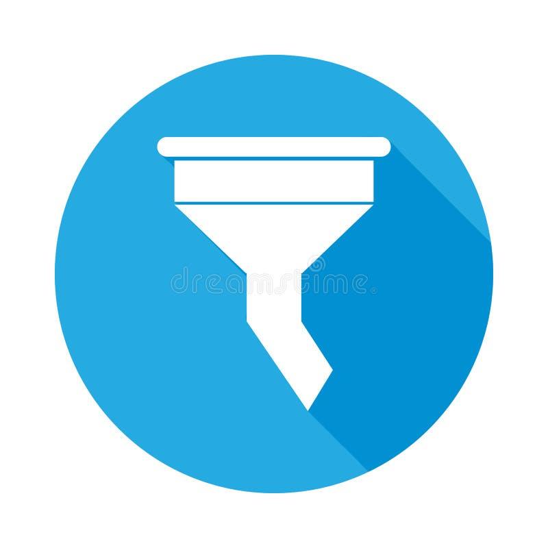 Kanalisera den plana symbolen för filtret med lång skugga Beståndsdel av illustrationen för bilreparationsservice Högvärdig kvali royaltyfri illustrationer