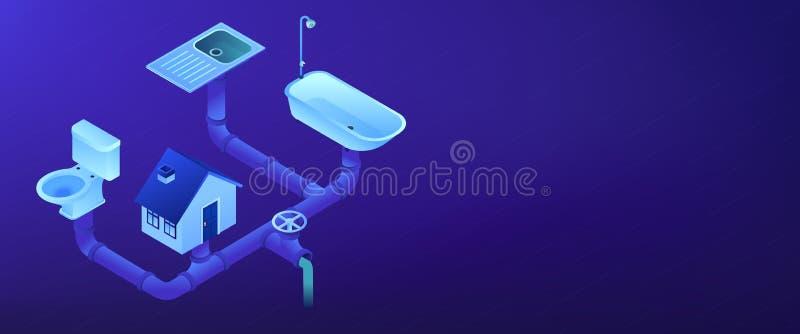 Kanalizacja systemu 3D sztandaru isometric chodnikowiec ilustracji