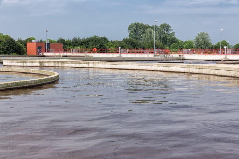Kanalizacyjny traktowanie, roślina, napowietrzenie wastewater zdjęcie stock
