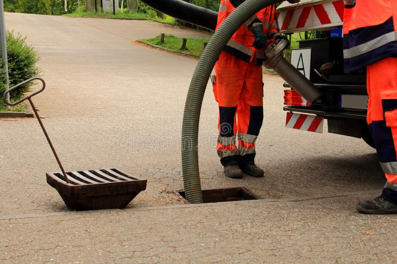 Sewer Inspection and cleaning stock image