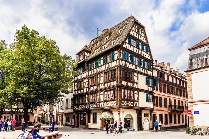 kanalstadsstrasbourg sikt royaltyfri fotografi