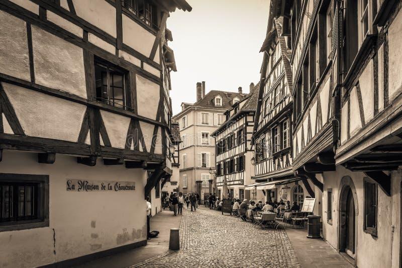 kanalstadsstrasbourg sikt royaltyfria bilder