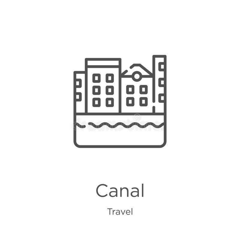 kanalsymbolsvektor från loppsamling Tunn linje illustration för vektor för kanalöversiktssymbol Översikt tunn linje kanalsymbol f stock illustrationer