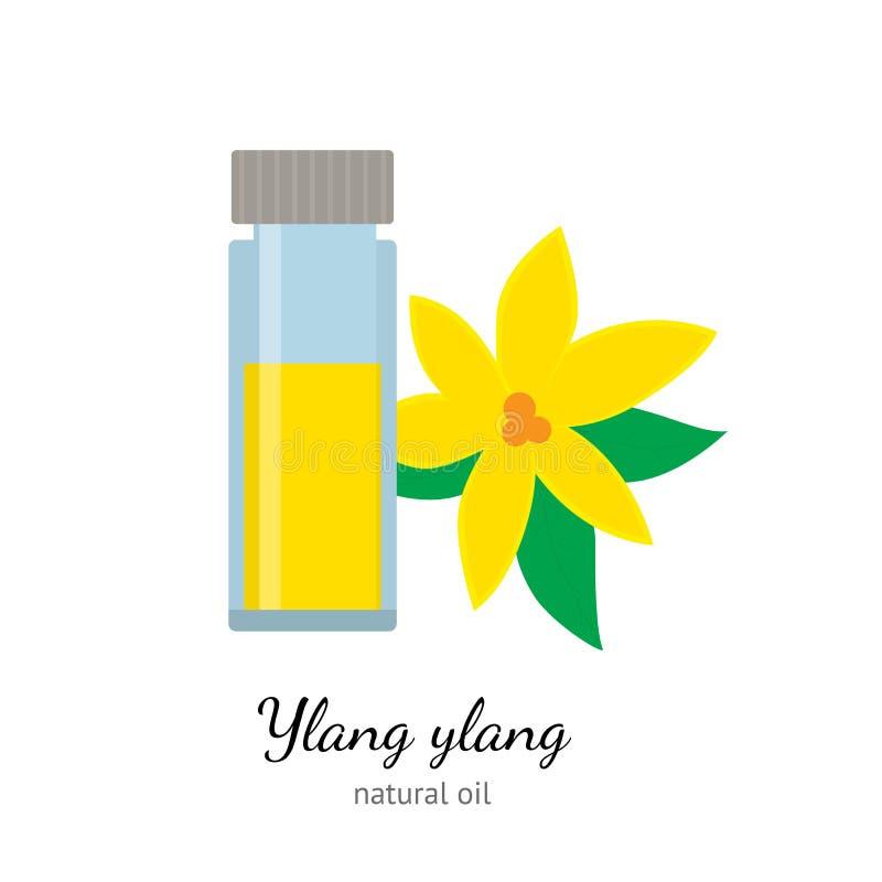 Kananga-olieetherische olie met bloemen op witte achtergrond worden geïsoleerd die royalty-vrije illustratie