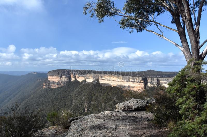 Kanangra Walls in Kanangra-Boyd National Park. Are spectacular, orange and grey sandstone cliffs towering above the Kanangra Creek gorge stock images