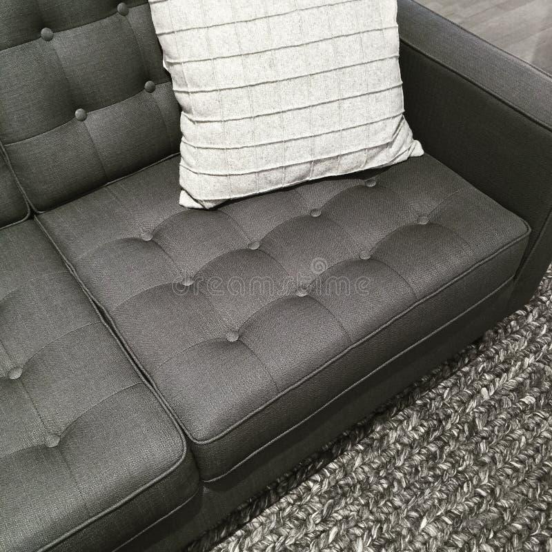 Kanapa, dywanik i poduszka w cieniach szarość, fotografia stock