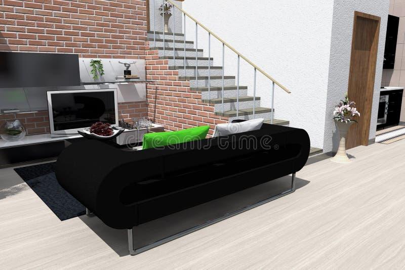 kanapa graniasty obiadowy wewnętrzny żywy izbowy furgon ilustracja wektor