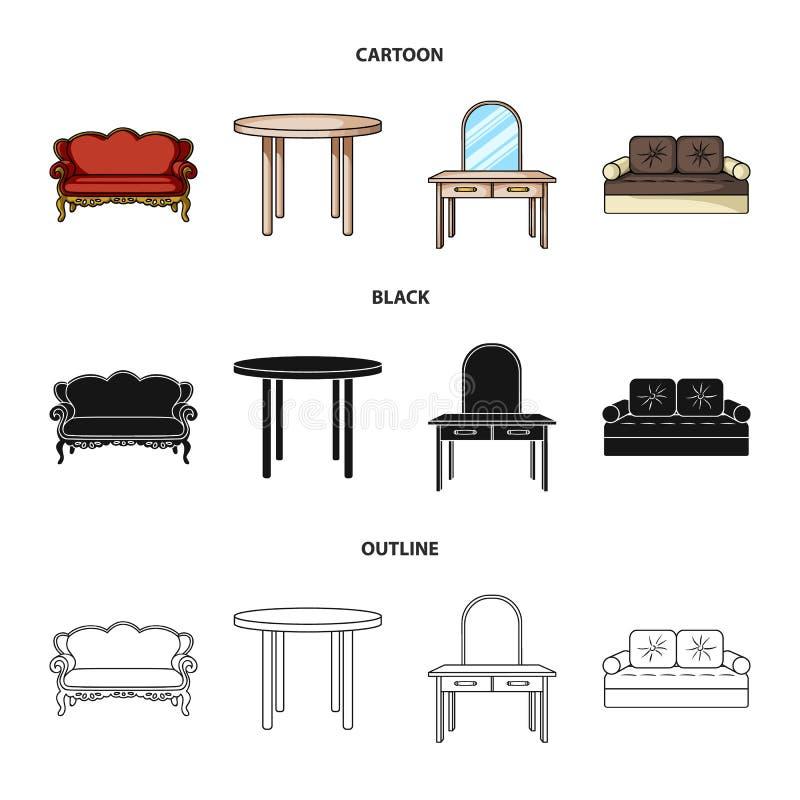 Kanapa, karło, stół, lustro Meble i domowego interiorset inkasowe ikony w kreskówce, czerń, konturu stylowy wektor ilustracja wektor