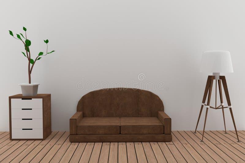 Kanapa wewnętrzny projekt z lampą i drzewo w pokoju w 3D odpłacamy się wizerunek ilustracja wektor