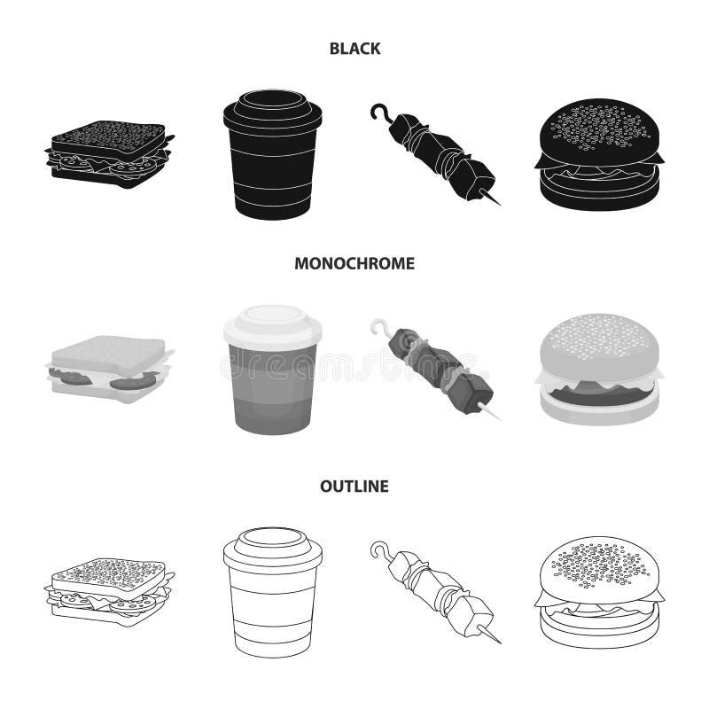Kanapka, kawa, shish kebab, hamburger Fast food ustalone inkasowe ikony w czarnym, monochromatyczny, konturu stylowy wektorowy sy ilustracji