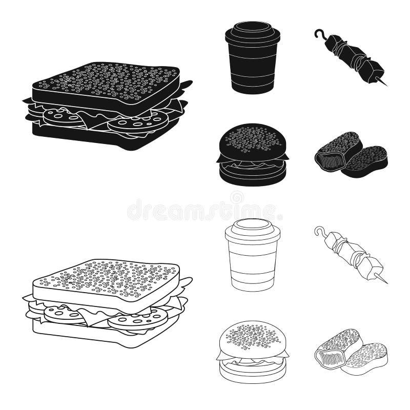 Kanapka, kawa, shish kebab, hamburger Fast food ustalone inkasowe ikony w czerni, konturu symbolu stylowy wektorowy zapas ilustracji