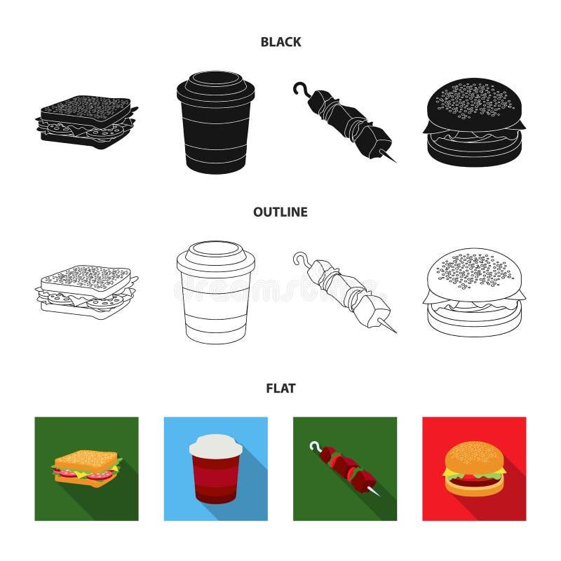 Kanapka, kawa, shish kebab, hamburger Fast food ustalone inkasowe ikony w kreskówka stylu wektorowym symbolu zaopatrują ilustracj ilustracji