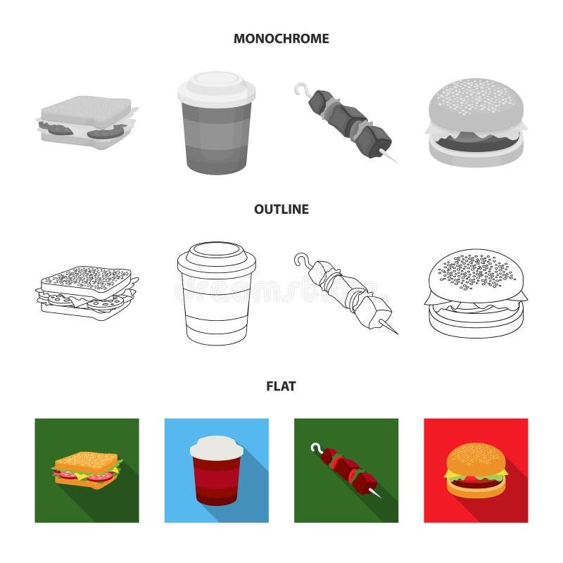 Kanapka, kawa, shish kebab, hamburger Fast food ustalone inkasowe ikony w mieszkaniu, kontur, monochromu stylowy wektorowy symbol ilustracja wektor