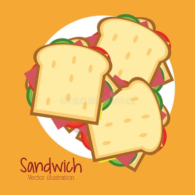 Kanapka talerza lunchu przekąski chlebowa ikona ilustracja wektor