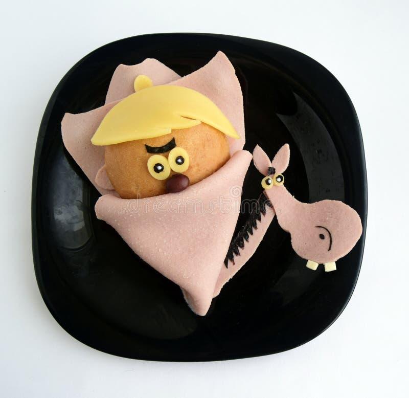 Kanapka w postaci kowbojskiej ` s głowy fotografia royalty free