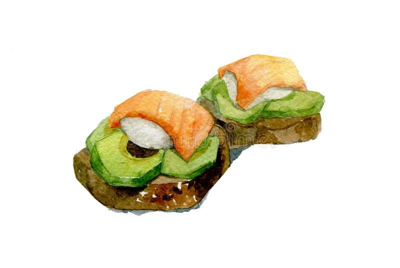 Kanapka zbożowy chleb, łosoś, avocado i jajka, Akwareli ilustracja odizolowywająca na białym tle ilustracji