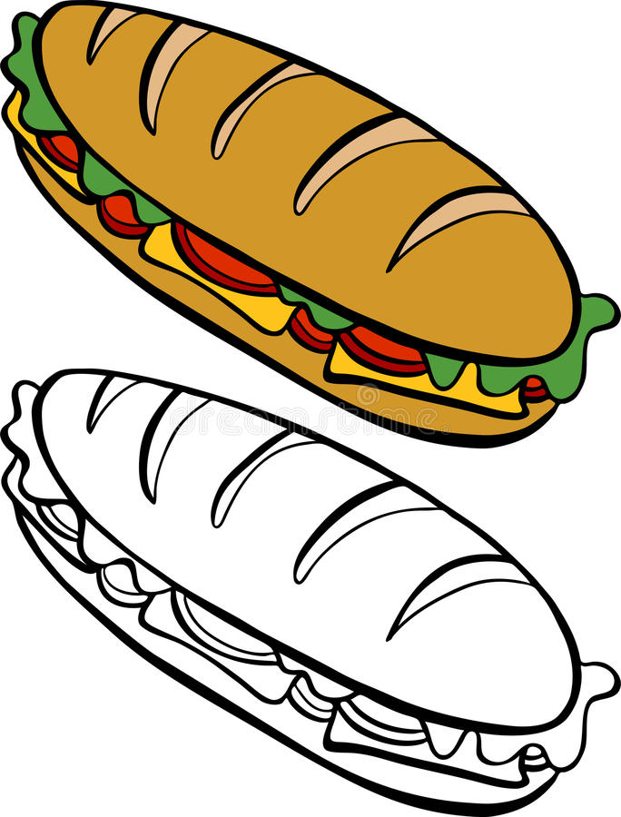 kanapki łódź podwodna ilustracja wektor