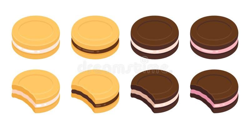 Kanapki ciastka set ilustracji
