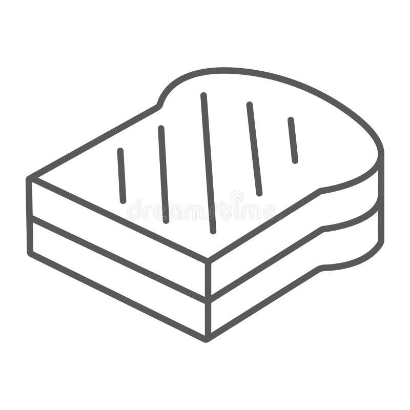 Kanapki cienka kreskowa ikona, jedzenie i chleb, fasta food znak, wektorowe grafika, liniowy wzór na białym tle ilustracji