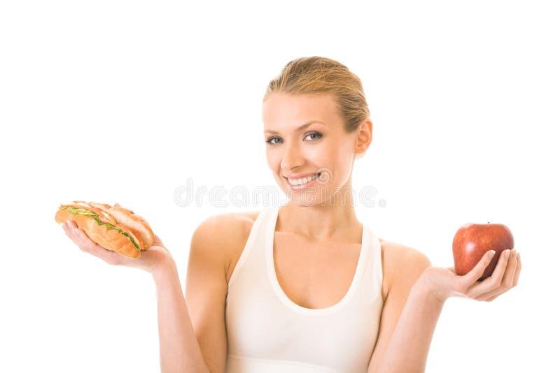 kanapki jabłczana kobieta zdjęcie royalty free