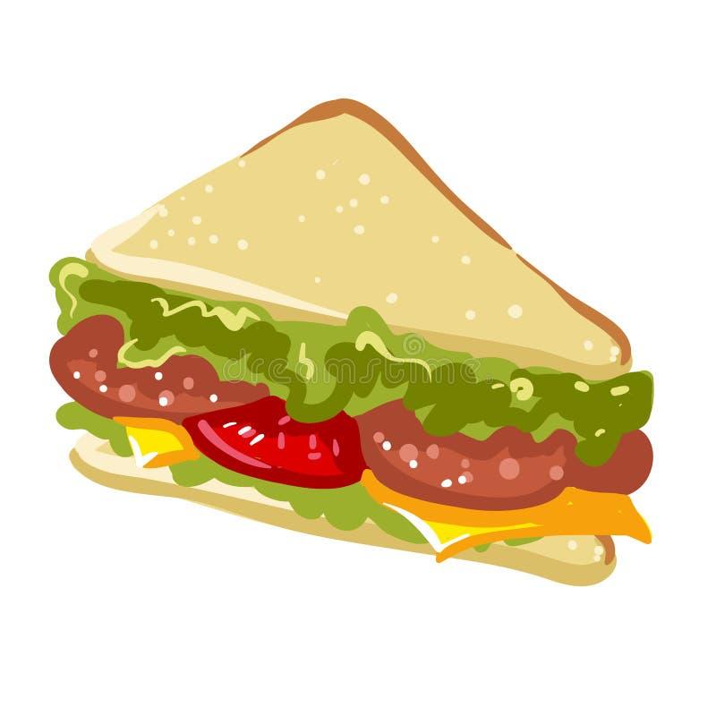 Kanapki panini fasta food płaska wektorowa ikona ilustracji