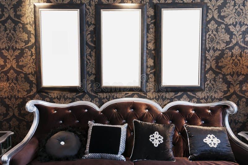 kanapy czarny ściana obrazy stock
