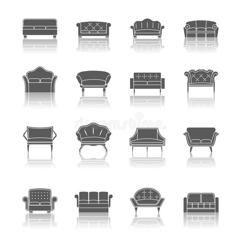 Kanapy ikony czerń ilustracji