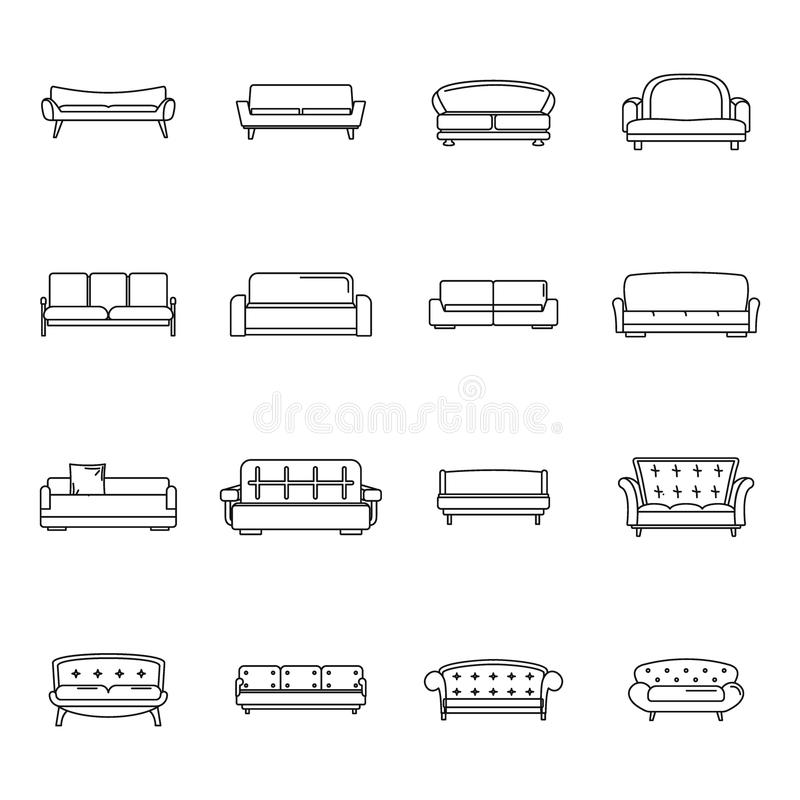 Kanapy krzesła leżanki izbowe ikony ustawiać, konturu styl royalty ilustracja