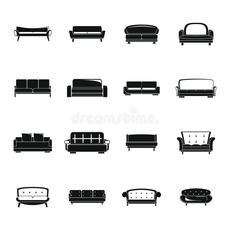 Kanapy krzesła leżanki izbowe ikony ustawiają, prosty styl ilustracji